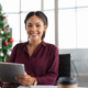 Happy-business-woman-christmas-office